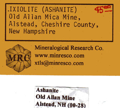 Ixiolite label